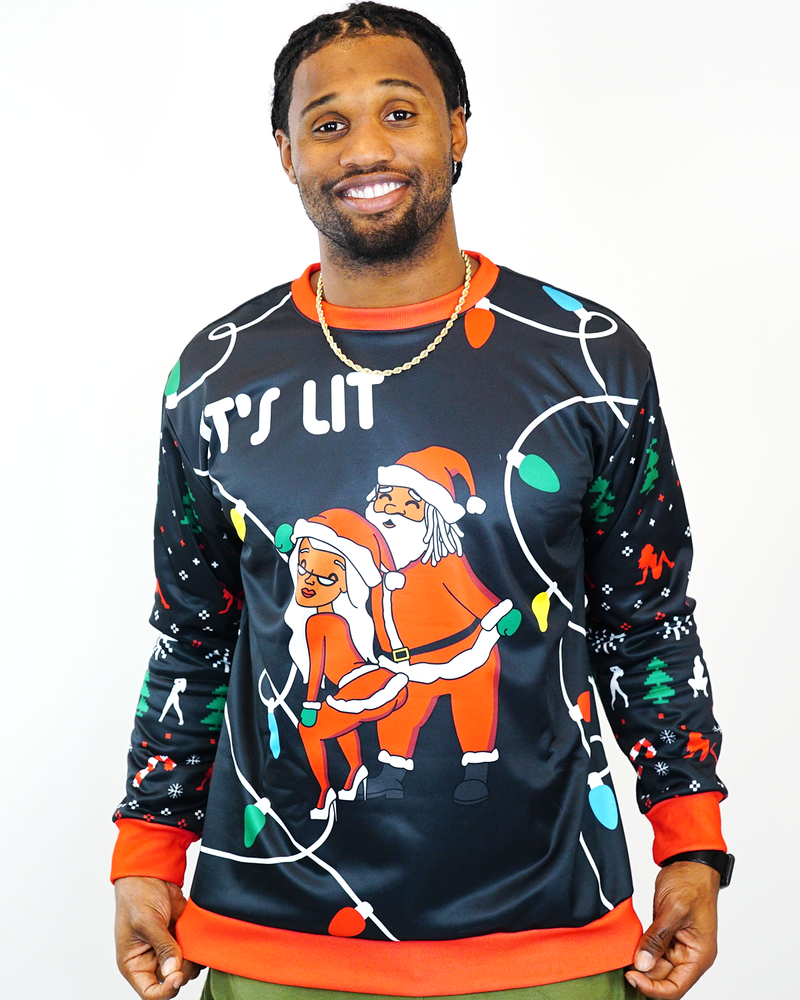 """It's Lit"" X-Mas Sweater Black"