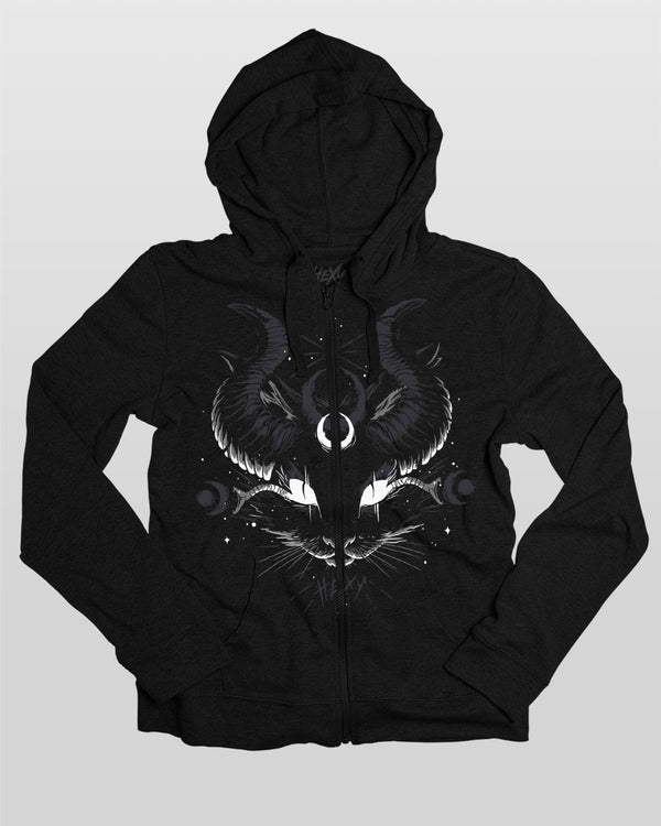 Hexy Crescent Eyes Light Weight Zip Hoodie