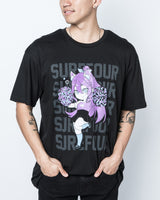 "Surefour ""Cheerleader Tisumi"" Black Tee"