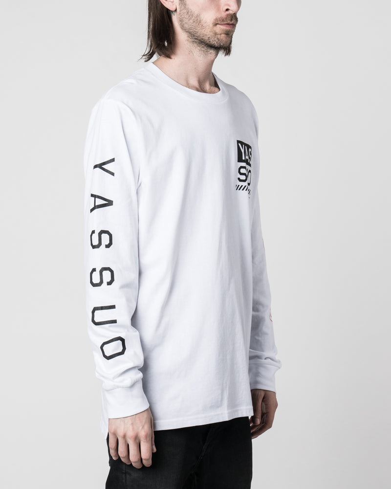 "Yassuo ""Wanderer of NYC"" Long Sleeve White Tee"
