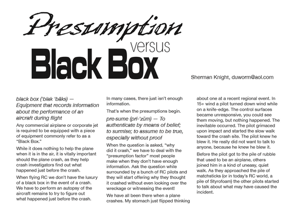 Presumptions vs the Black Box