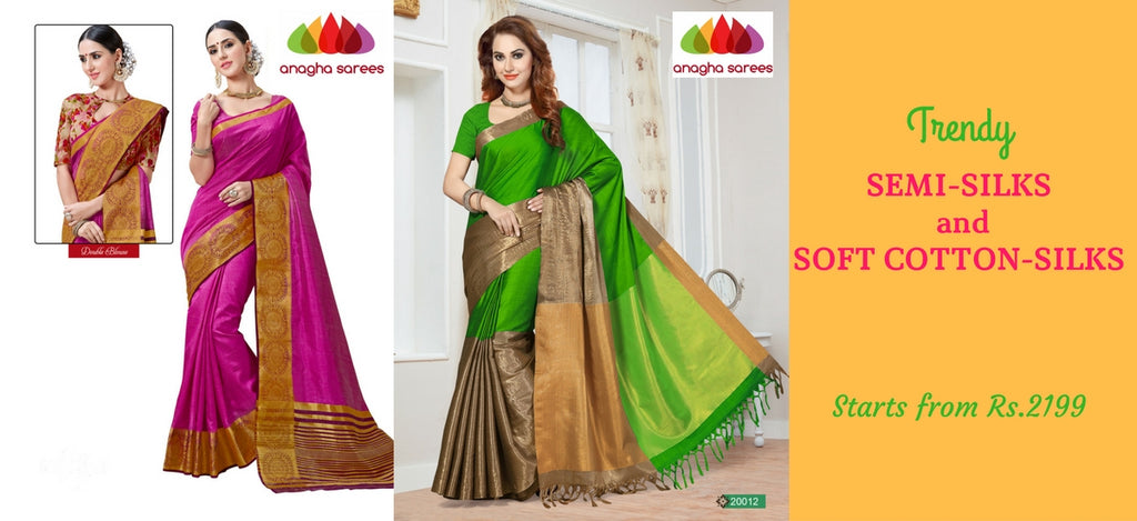 Anagha Sarees - Trendy Semi-Silk And Cotton-Silk