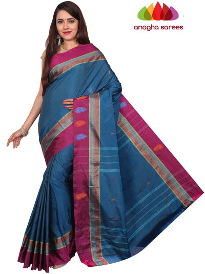 Soft Semi Silk Saree - Blue ANA_F78 - Anagha Sarees