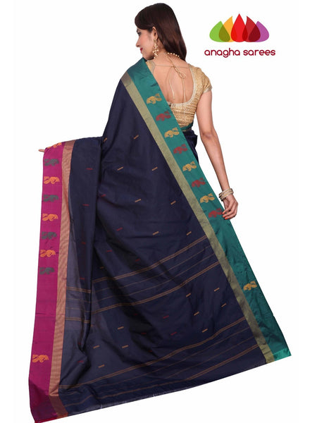 Soft Semi Silk Saree - Navy Blue ANA_F79