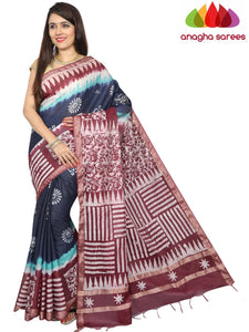 Batik Semi Silk Saree - Blue/Purple : ANA_G24