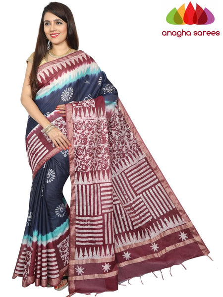 Batik Semi Silk Saree - Blue/Purple : ANA_G24 - Anagha Sarees