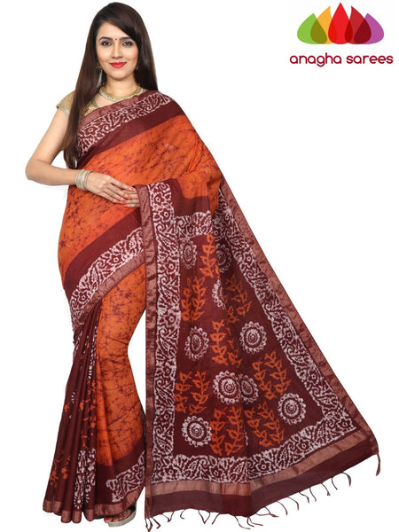 Batik Semi Silk Saree - Mustard/Brown : ANA_G21