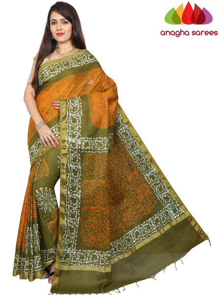 Batik Semi Silk Saree - Mustard/Green : ANA_G22