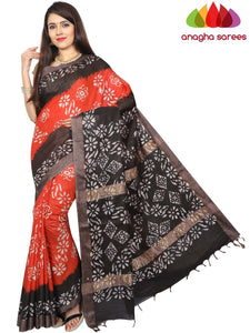 Batik Semi Silk Saree - Rust/Black : ANA_G23
