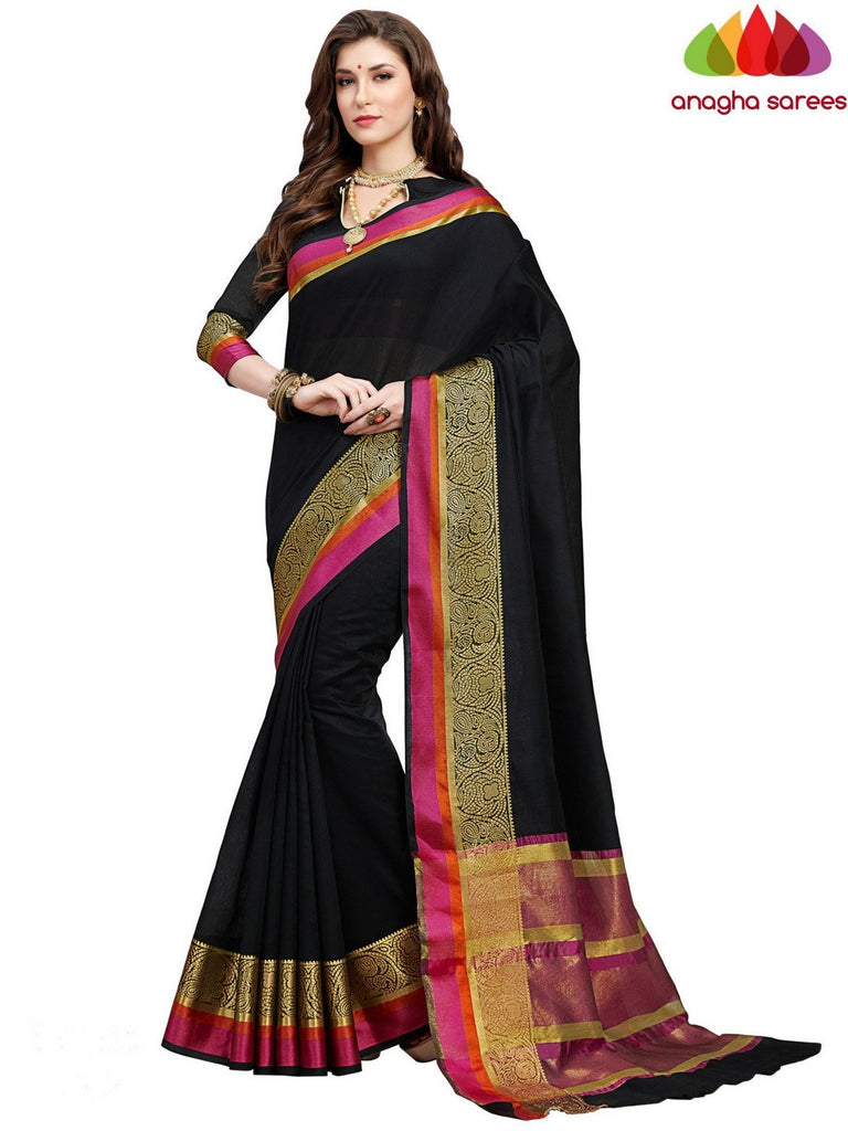 Anagha Sarees Chanderi cotton Rich Cotton Saree - Black  ANA_550