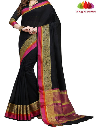 Rich Cotton Saree - Black  ANA_550 - Anagha Sarees