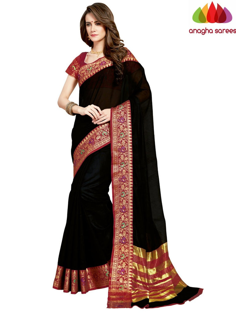 Anagha Sarees Chanderi cotton Rich Cotton Saree - Black-Red  ANA_958