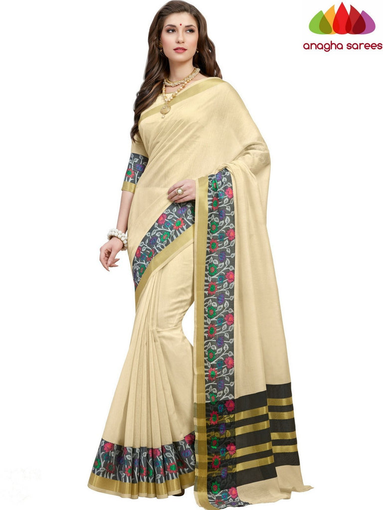 Rich Cotton Saree - Cream  ANA_551 Anagha Sarees