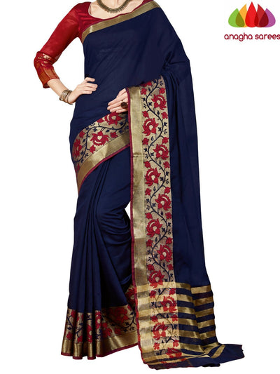 Rich Cotton Saree - Dark Blue  ANA_966 - Anagha Sarees
