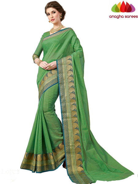 Anagha Sarees Chanderi cotton Rich Cotton Saree - Green  ANA_552