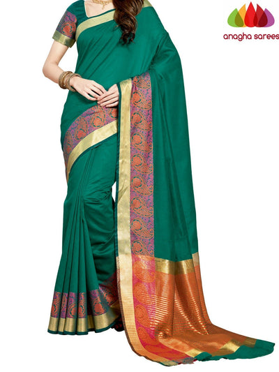 Rich Cotton Saree - Green  ANA_959 - Anagha Sarees
