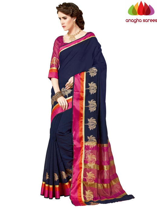 Anagha Sarees Chanderi cotton Rich Cotton Saree - Ink Blue  ANA_964