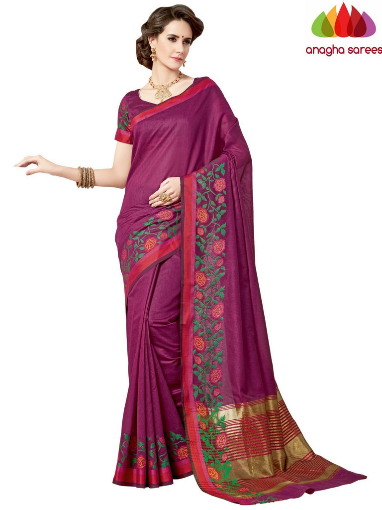 Rich Cotton Saree - Magenta  ANA_960 Anagha Sarees