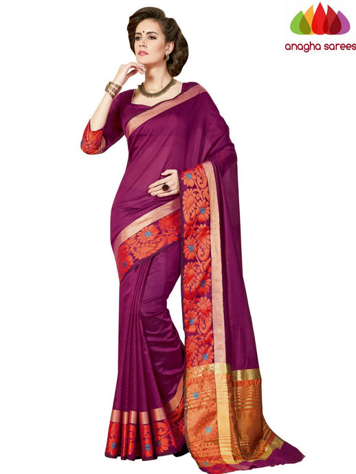 Anagha Sarees Chanderi cotton Rich Cotton Saree - Magenta  ANA_961