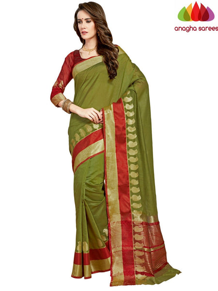 Anagha Sarees Chanderi cotton Rich Cotton Saree - Mehendi Green  ANA_962