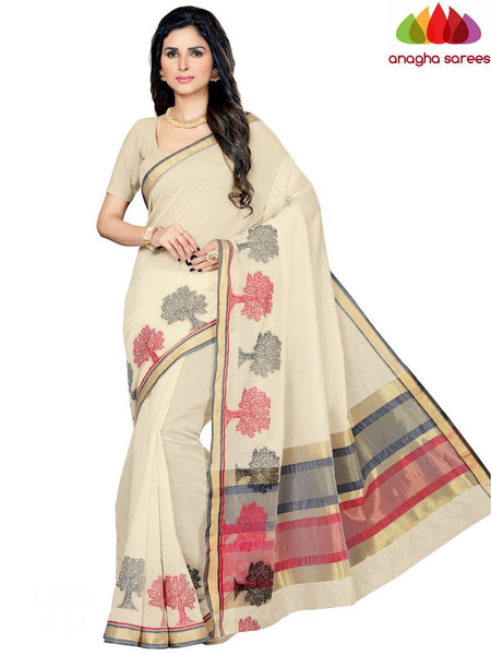 Anagha Sarees Chanderi cotton Rich Cotton Saree - Off White  ANA_656