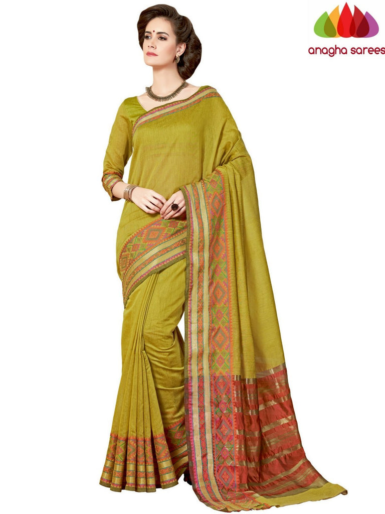 Rich Cotton Saree - Olive Green  ANA_965 Anagha Sarees