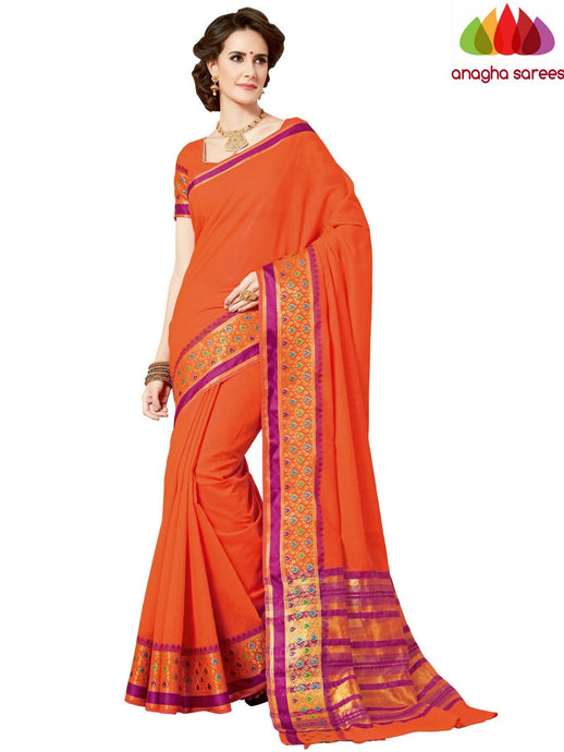 Anagha Sarees Chanderi cotton Rich Cotton Saree - Orange  ANA_963