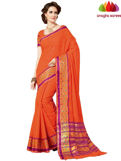 Rich Cotton Saree - Orange  ANA_963 - Anagha Sarees