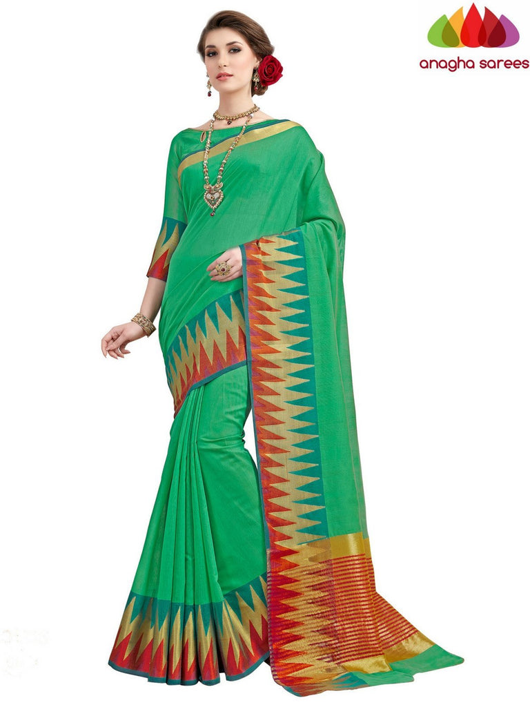 Rich Cotton Saree - Parrot Green  ANA_553 Anagha Sarees