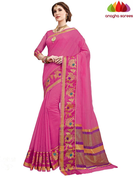 Anagha Sarees Chanderi cotton Rich Cotton Saree - Pink  ANA_558