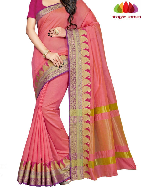 Anagha Sarees Chanderi cotton Rich Cotton Saree - Pink  ANA_657