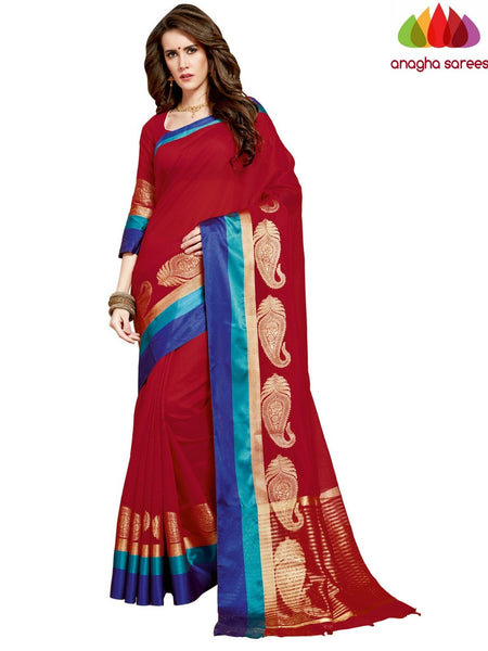 Anagha Sarees Chanderi cotton Rich Cotton Saree - Red  ANA_968