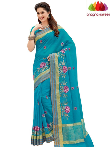 Designer Chanderi Cotton-Silk Saree - Light Blue  ANA_873 - Anagha Sarees