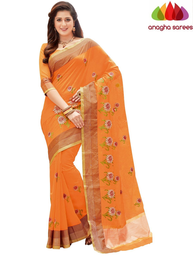 Designer Chanderi Cotton-Silk Saree - Orange  ANA_874 Anagha Sarees