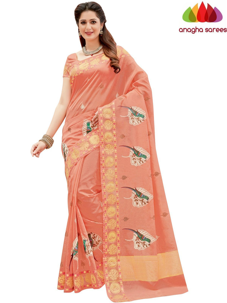 Designer Chanderi Cotton-Silk Saree - Peach  ANA_875 Anagha Sarees