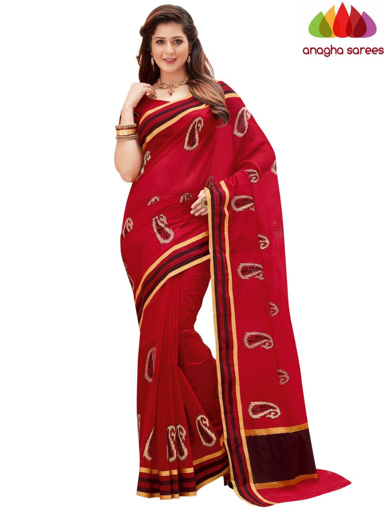 Designer Chanderi Cotton-Silk Saree - Red  ANA_871 Anagha Sarees