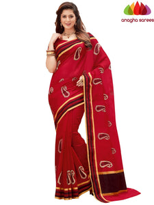 Designer Chanderi Cotton-Silk Saree - Red  ANA_871