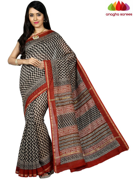 Bagru Print Chanderi Silk Saree - Black ANA_C51