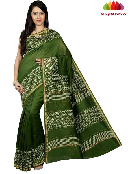 Bagru Print Chanderi Silk Saree - Green ANA_C48