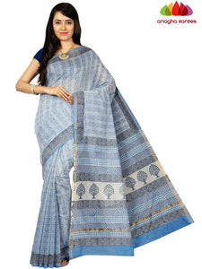 Bagru Print Chanderi Silk Saree - Sky Blue ANA_C52
