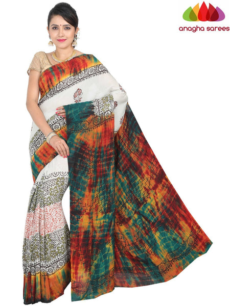 Anagha Sarees Chanderi Silk Length=6.3metres, width=45 inches / Black Hand Print Crepe Silk Saree - Multicolor : ANA_H34