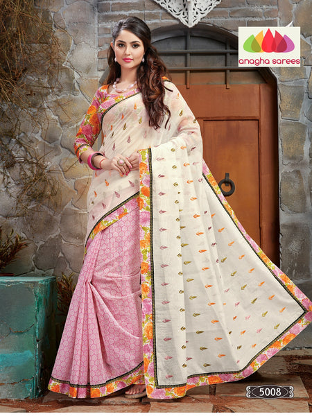 Designer Chanderi Saree - Off White/Light Pink : ANA_071 - Anagha Sarees