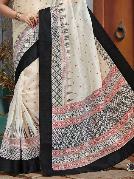 Designer Cotton Saree - Off White/Black : ANA_074 - Anagha Sarees