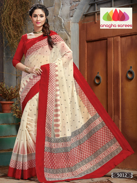 Designer Cotton Saree - Off White/Red : ANA_075 - Anagha Sarees