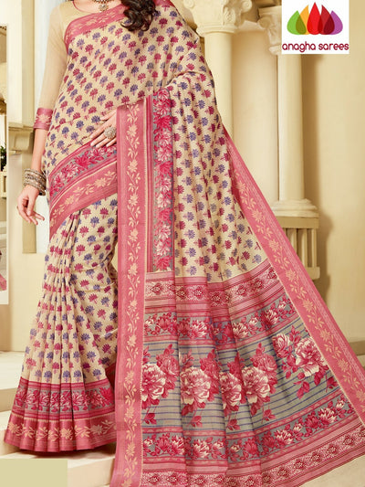 Fancy Cotton Saree - Beige : ANA_A12 - Anagha Sarees