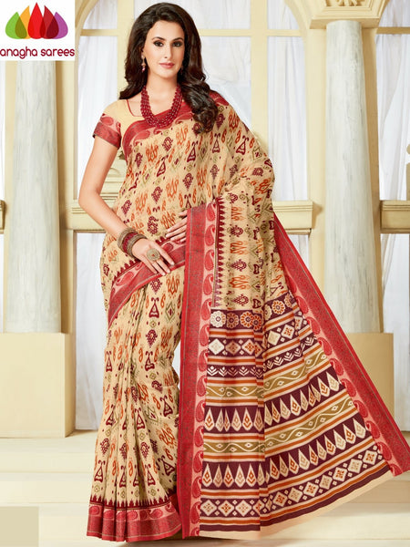 Fancy Cotton Saree - Beige : ANA_A13