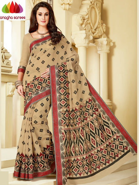 Fancy Cotton Saree - Beige : ANA_A15