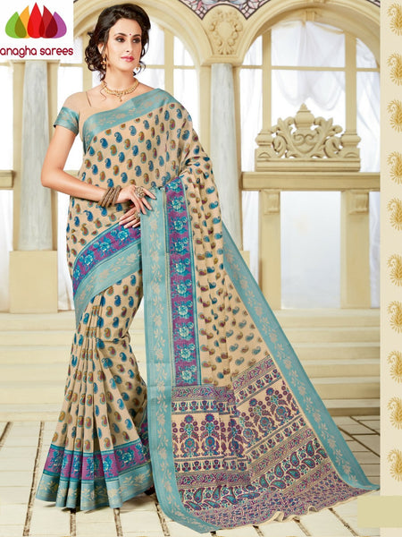 Anagha Sarees Cotton saree Fancy Cotton Saree - Beige  : ANA_A19