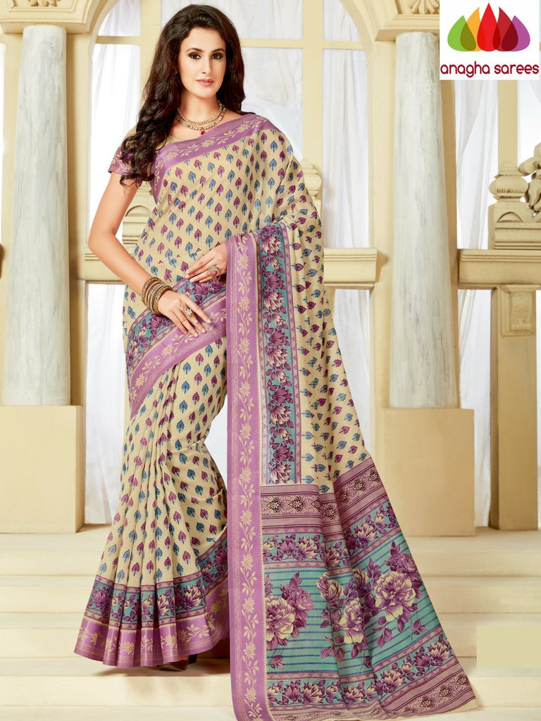 Fancy Cotton Saree - Beige : ANA_A20 Anagha Sarees