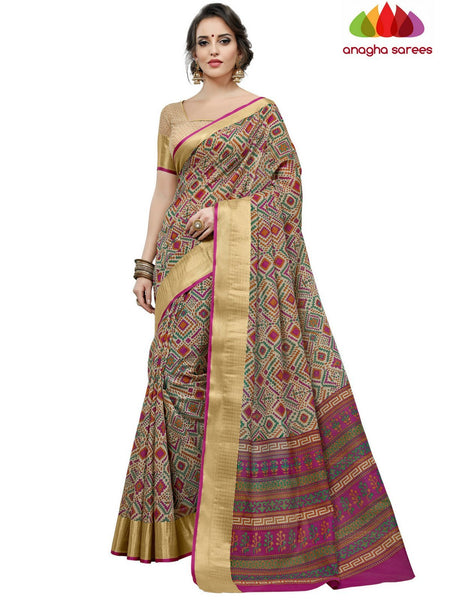 Fancy Cotton Saree - Beige : ANA_D13